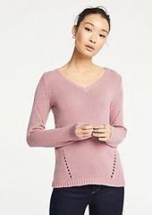Ann Taylor Pointelle V-Neck Sweater