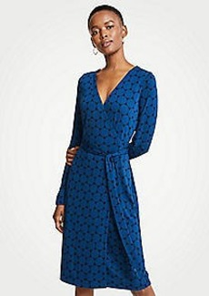 Ann Taylor Polka Dot Button Cuff Wrap Dress