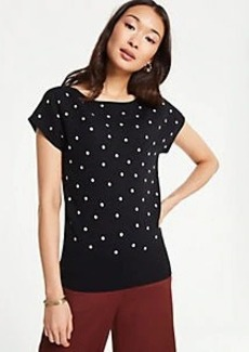 Ann Taylor Polka Dot Cap Sleeve Sweater Tee