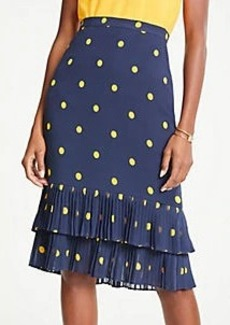 Ann Taylor Polka Dot Pleated Pencil Skirt