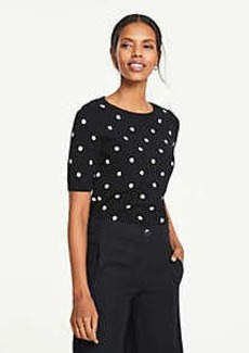 Ann Taylor Polka Dot Short Sleeve Sweater