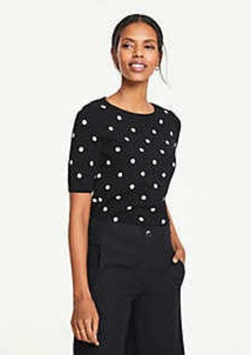 Ann Taylor Polka Dot Short Sleeve Sweater