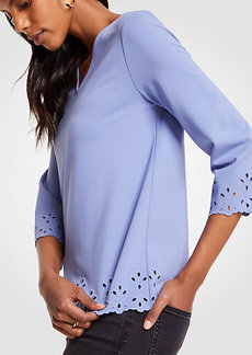 Ponte Embroidered Scallop Top