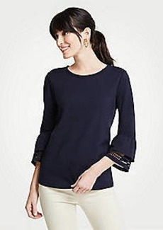 Ann Taylor Ponte Flare Sleeve Lace Trim Top