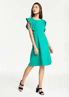 Ann Taylor Ponte Flutter Sleeve Flare Dress
