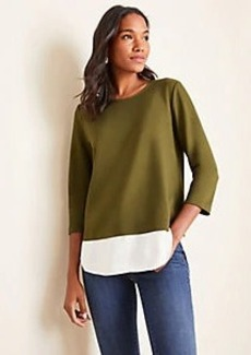 Ann Taylor Ponte Mixed Media Top