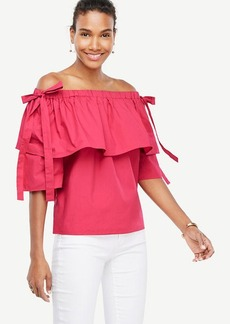 Poplin Off The Shoulder Tie Sleeve Top