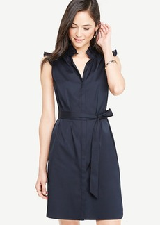 Poplin Ruffle Neck Belted Shirtdress