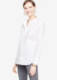 Poplin Ruffle Neck Blouse