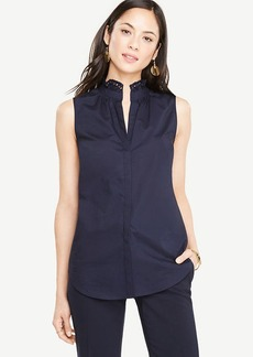Poplin Ruffle Neck Shell