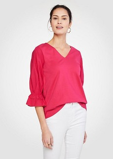 Ann Taylor Poplin Sleeve Pima Cotton Top
