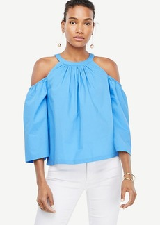 Poplin Structured Cold Shoulder Top
