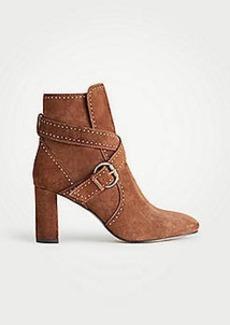 Ann Taylor Presley Stud Suede Block Heel Booties