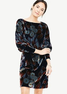 Printed Velvet Puff Sleeve Dress