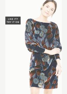Printed Velvet Puff Sleeve Dress