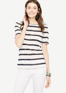 Puff-Sleeve Linen Sunday Tee - In Stripe