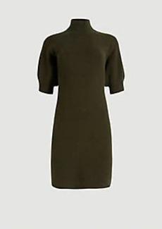 Ann Taylor Puff Sleeve Mock Neck Sweater Dress