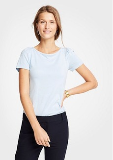 Ann Taylor Puff Sleeve Pima Cotton Tee