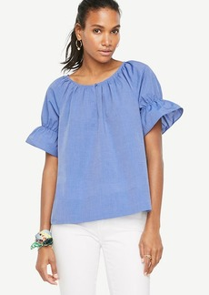 Puff Sleeve Poplin Top