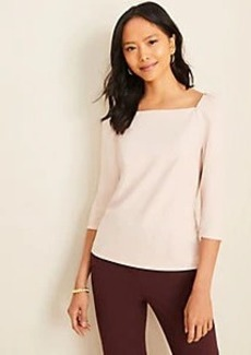 Ann Taylor Puff Sleeve Square Neck Top