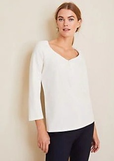 Ann Taylor Puff Sleeve V-Neck Top