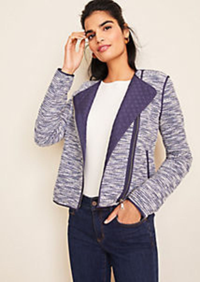 Ann Taylor Quilted Tweed Moto Jacket