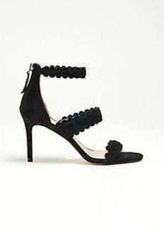 Ann Taylor Raina Scalloped Suede Heeled Sandals