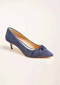 Ann Taylor Reese Knot Bow Suede Kitten Heels