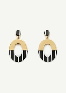 Ann Taylor Resin Stripe Metal Oval Earrings