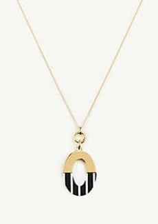 Ann Taylor Resin Stripe Metal Oval Pendant Necklace