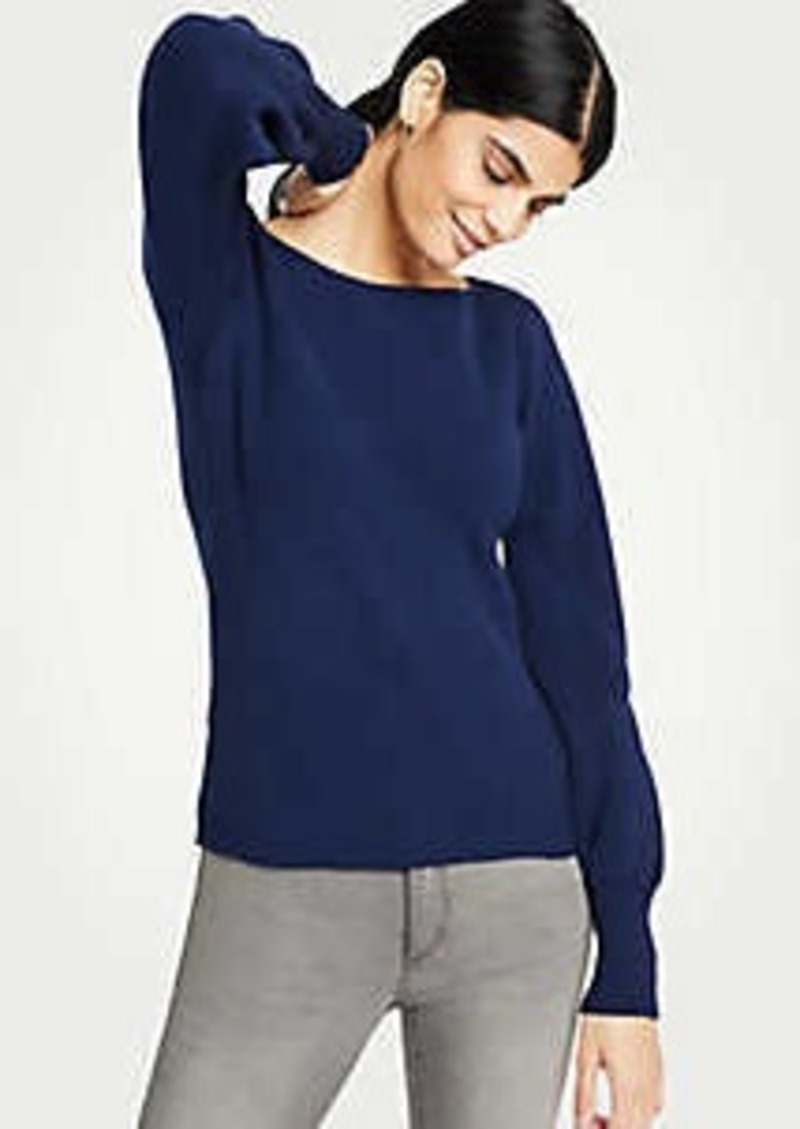 Ann Taylor Ribbed Boatneck Lantern Sleeve Sweater
