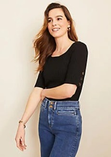 Ann Taylor Ribbed Button Sleeve Top