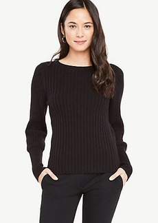 Ribbed Lantern Sleeve Sweater