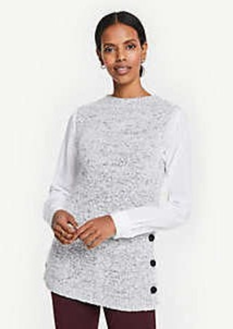Ann Taylor Ribbed Mock Neck Sleeveless Tunic Sweater