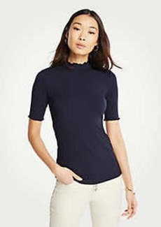 Ann Taylor Ribbed Mock Neck Top