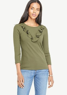 Ann Taylor Ribbed Ruffle Top