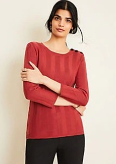 Ann Taylor Ribbed Shoulder Button Sweater