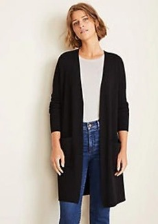 Ann Taylor Ribbed Side Slit Open Cardigan