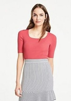 Ann Taylor Ribbed Square Neck Short Sleeve Sweater