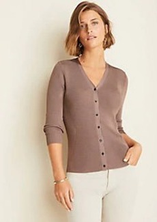 Ann Taylor Ribbed V-Neck Cardigan