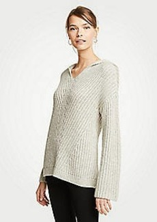 Ann Taylor Ribbed V-Neck Hoodie Sweater