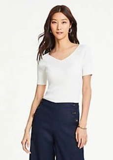 Ann Taylor Ribbed V-Neck Short Sleeve Sweater