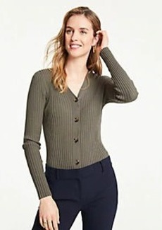 Ann Taylor Ribbed V-Neck Sweater