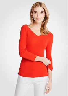 Ann Taylor Ribbed Wide V-Neck Sweater