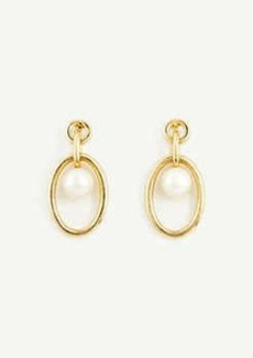 Ann Taylor Ring Pearlized Drop Earrings