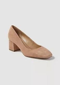 Ann Taylor Roxie Suede Square Toe Block Heel Pumps