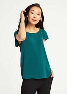 Ann Taylor Ruched Cap Sleeve Top