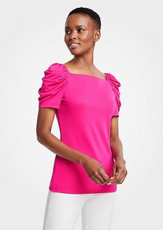 Ann Taylor Ruched Sleeve Square Neck Top