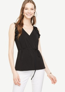 Ann Taylor Ruffle Belted Wrap Top