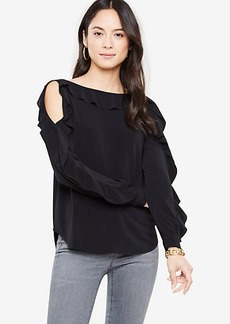 Ann Taylor Ruffle Cold Shoulder Top